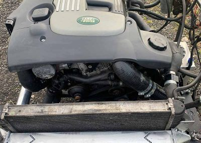 Land Rover conversion old engine taken out